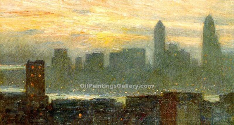 """Manhattan s Misty Sunset"" by  Frederick Childe Hassam"