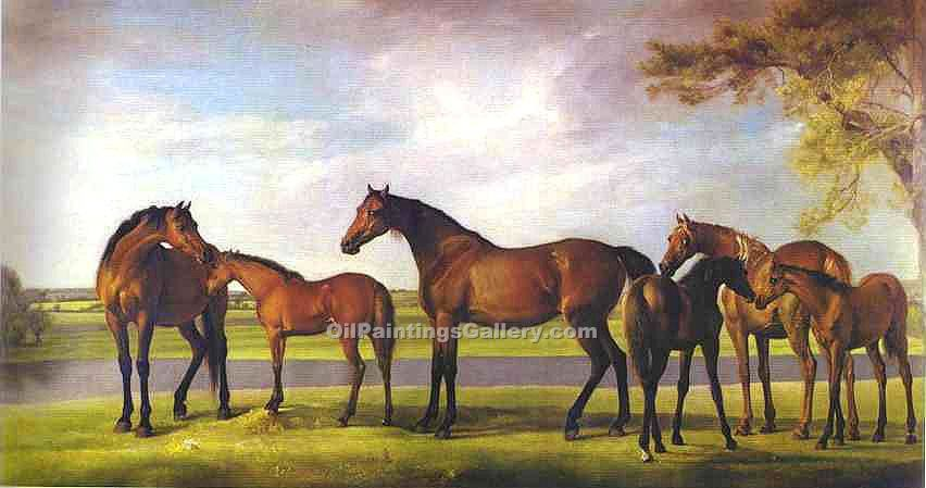 """Mares and Foals Disturbed by an Approaching Storm"" by  George Stubbs"