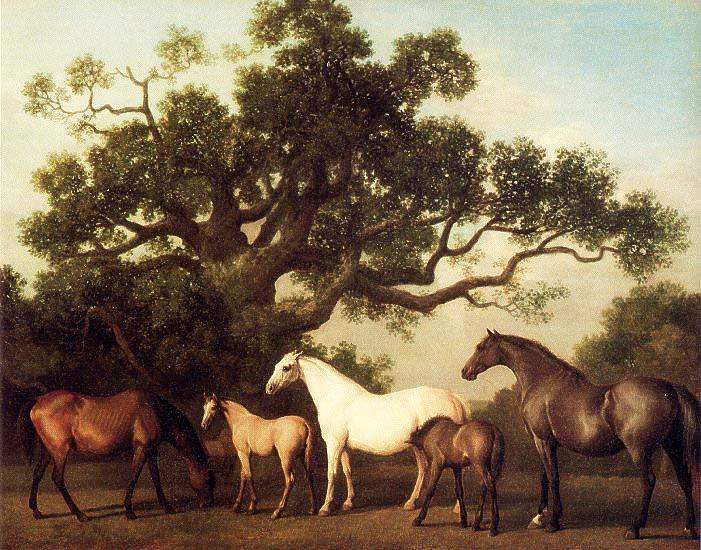 """Mares and Foals Under Large Oak Tree"" by  George Stubbs"