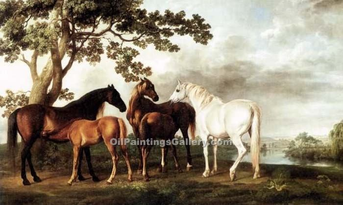 """Mares and Foals in a River Landscape"" by  George Stubbs"