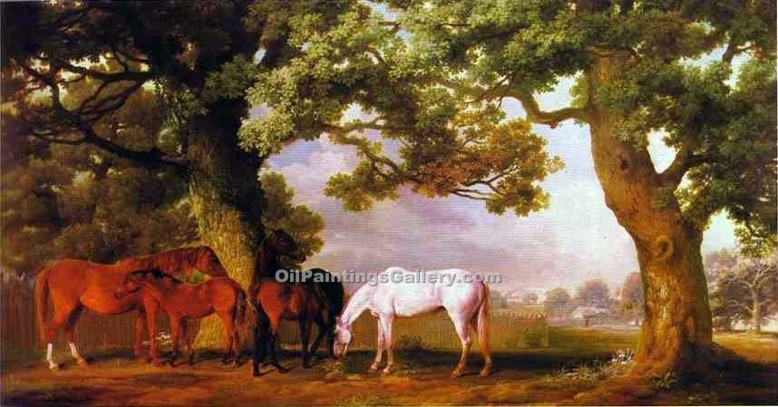 Mares and Foals in a Wooded Landscape by George Stubbs | Art Gallery Oil Painting - Oil Paintings Gallery