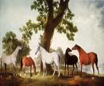 Mares by an Oak Tree by  George Stubbs (Painting ID: AN-2111-KA)