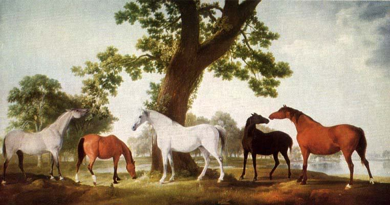 """Mares by an Oak Tree"" by  George Stubbs"
