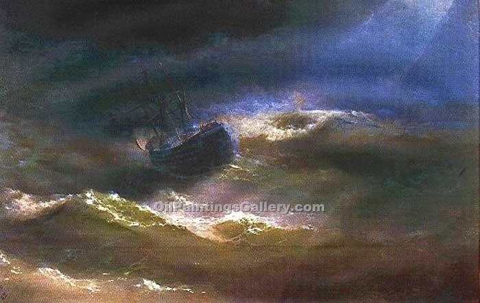 Maria in Storm by Ivan Aivazovsky | Modern Artists Paintings - Oil Paintings Gallery