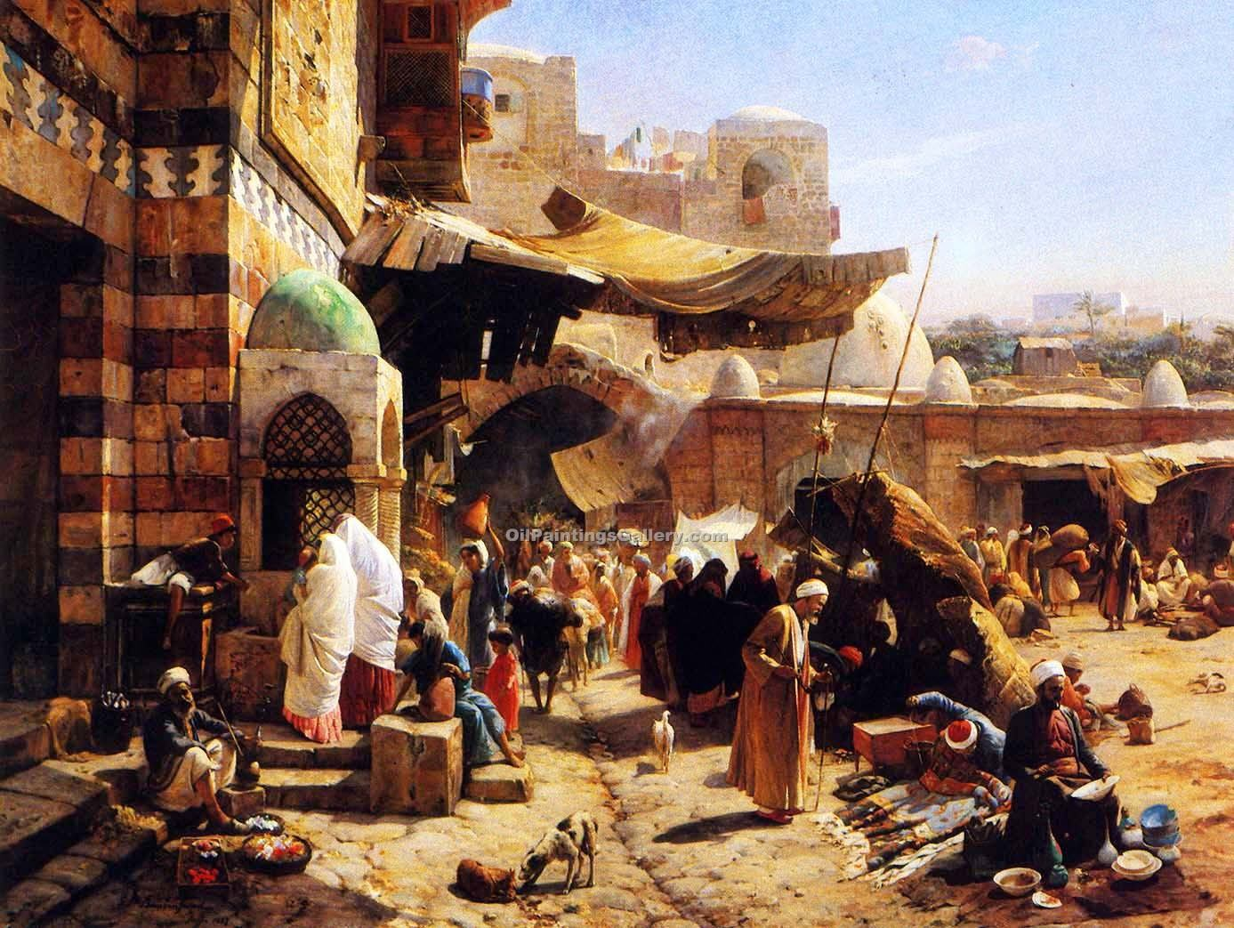 Market Jaffa by Gustav Bauernfeind | Paintings Online - Oil Paintings Gallery