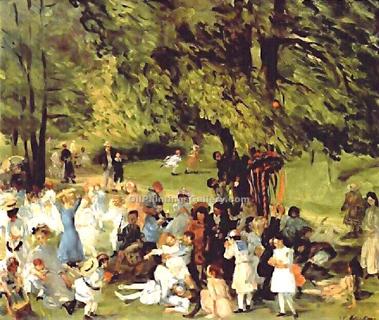 May Day in Central Park by Glackens William | Expressionism Paintings - Oil Paintings Gallery
