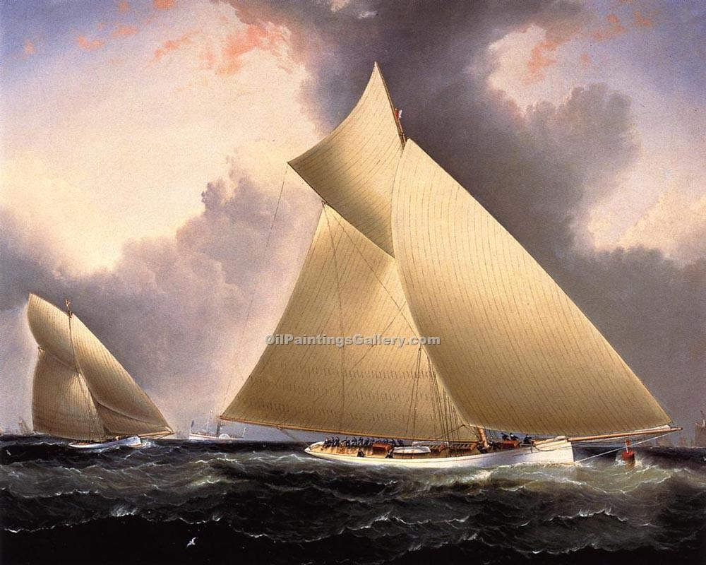 """Mayflower Leading Galatea, America s Cup 1886"" by  James E Buttersworth"