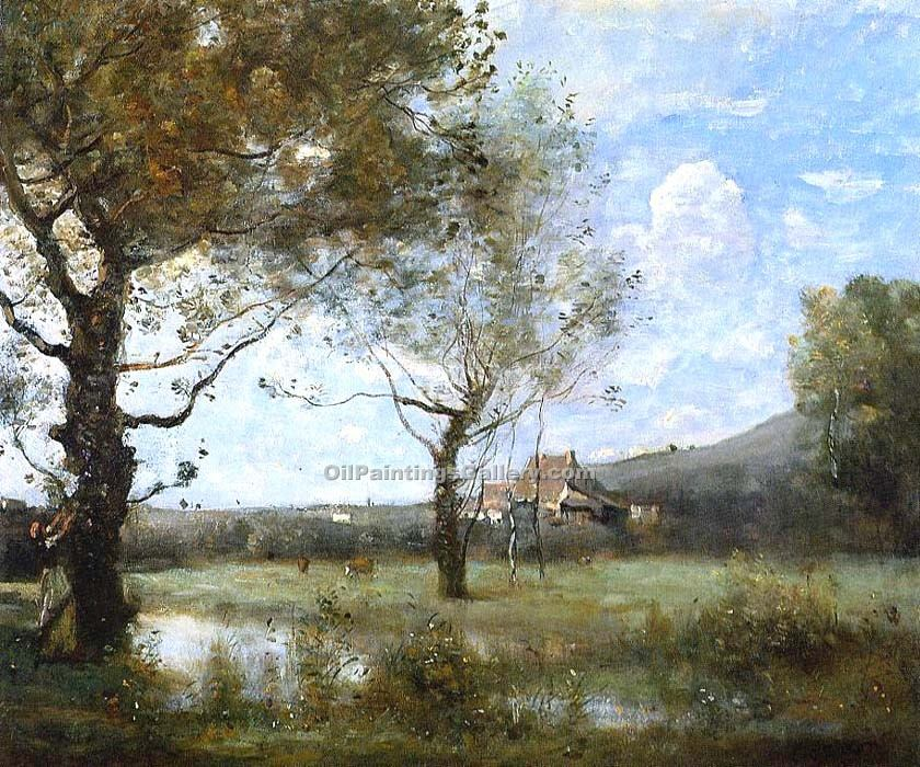 Meadow With Two Large Trees By Jean Baptiste Corot