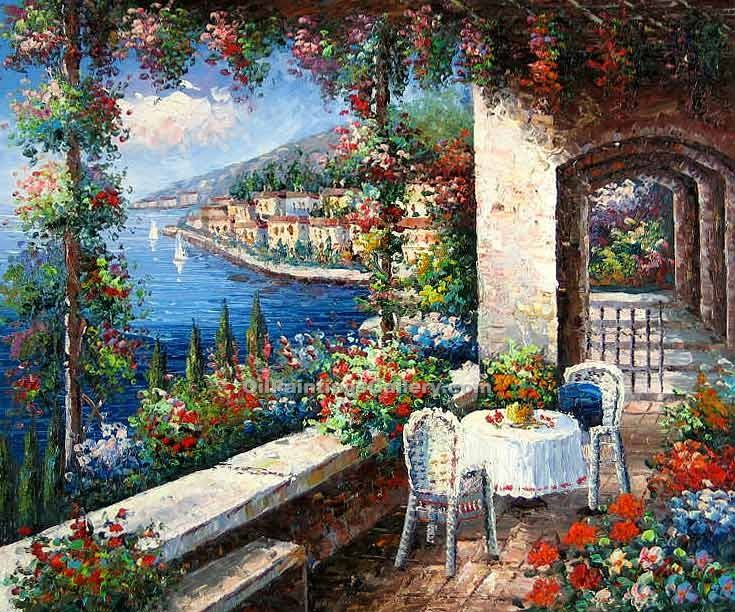 Buy Oil Painting Landscapes Online | Realism & Naturalism styles - Mediterranean Patio 54