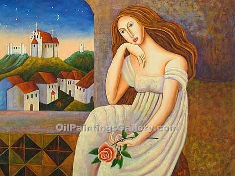 Famous Painters' Reproduction Paintings Online | Art Deco, Art Nouveau, Pop Art - Michelle with a Rose
