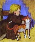 Mimi and Her Cat by  Paul Gauguin (Painting ID: GA-0255-KA)