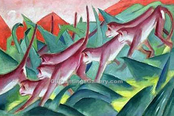Monkey Frieze 01 by Franz Marc | Paintings For Sale Online - Oil Paintings Gallery