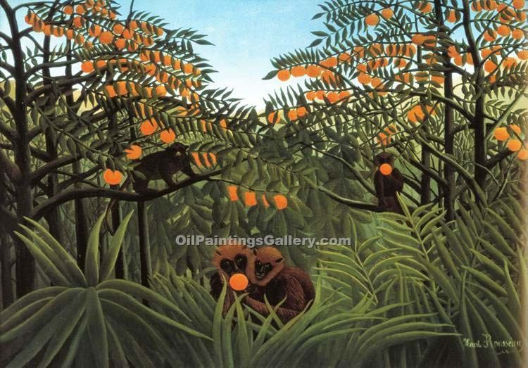 Monkeys in the Jungle by Henri Rousseau | Art Reproductions - Oil Paintings Gallery