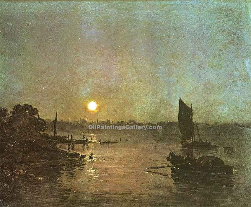Moonlight a Stody at Millbank by William Turner | Custom Made Paintings - Oil Paintings Gallery