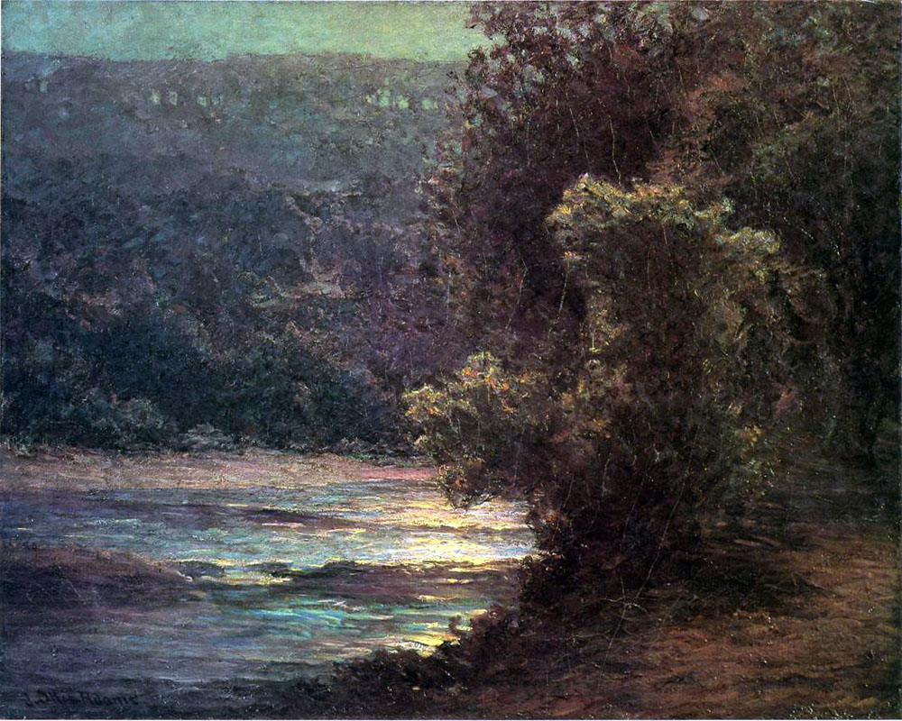 """Moonlight on the Whitewater"" by  John Ottis Adams"