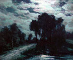 Moonlit Road by  Francois Cachoud (Painting ID: LA-2558-KA)