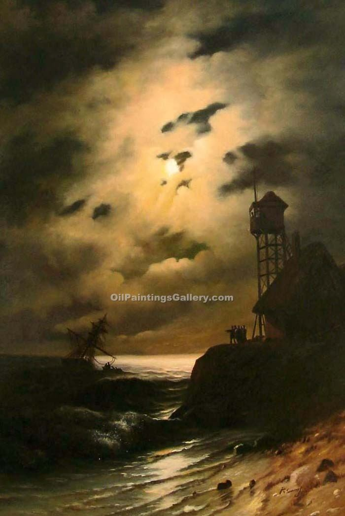 """Moonlit Seascape with Shipwreck"" by  Ivan Aivazovsky"