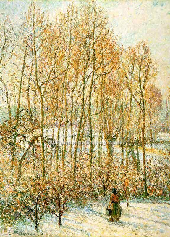 Morning Sunlight on the Snow by Camille Pissarro | Paintings Replicas - Oil Paintings Gallery