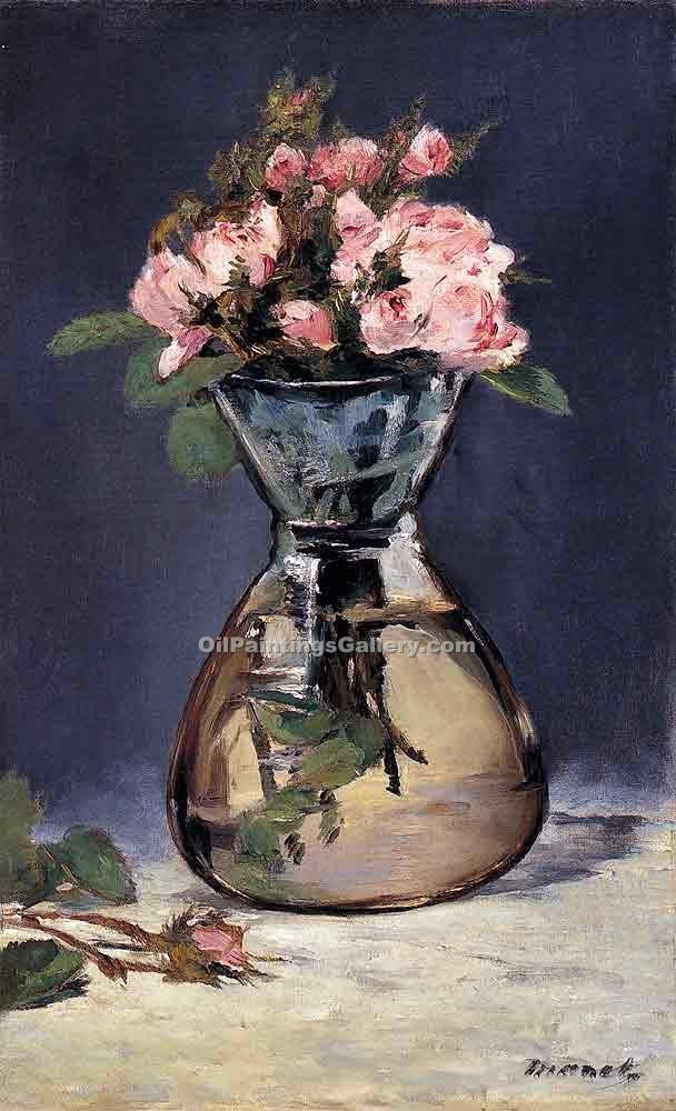 """Moss Roses in a Vase"" by  Edouard Manet"
