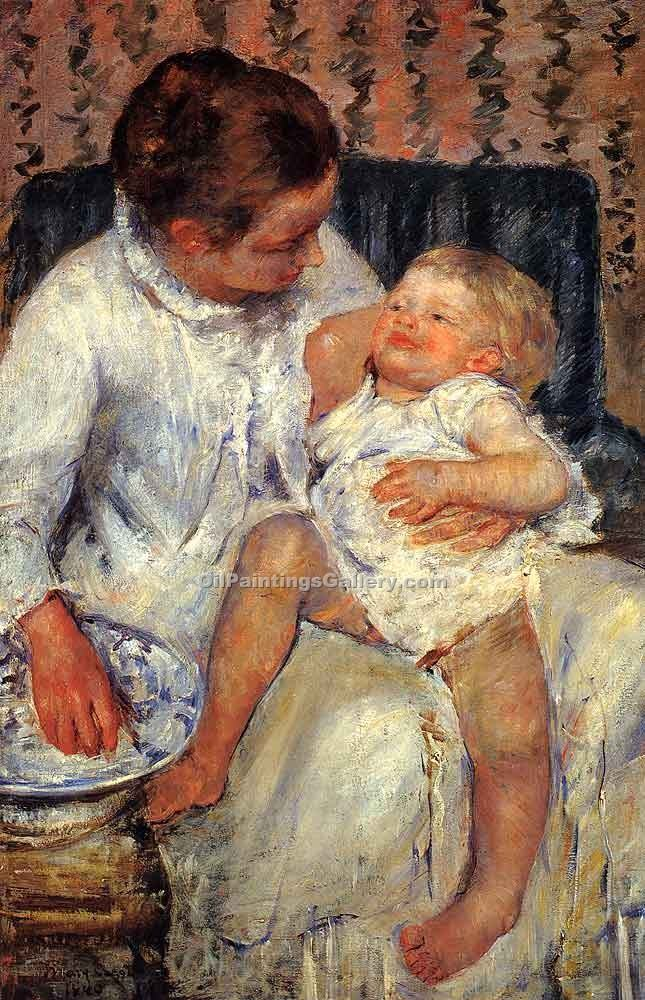 Mother About to Wash Her Sleepy Child by Cassatt Mary | Abstract Art Online - Oil Paintings Gallery