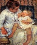 Mother About to Wash Her Sleepy Child by  Mary Cassatt (Painting ID: EI-0004-KA)