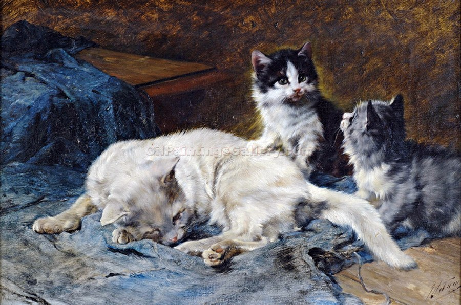 Mother Cat with Two Kittens by Julius Adam | Online Canvas Painting - Oil Paintings Gallery