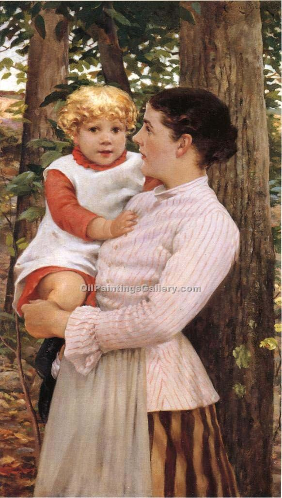 """Mother and Child 30"" by  James Carroll Beckwith"