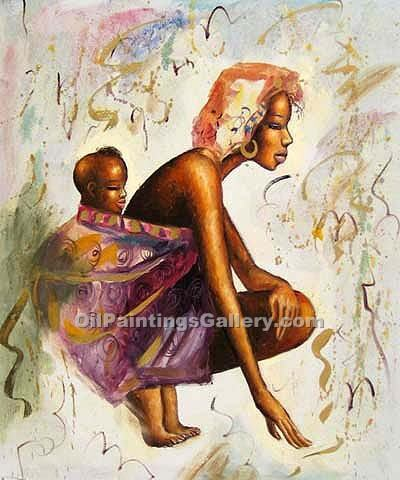 Buy Figure and Portrait Oil Painting Online - Naive portraits painting on canvas - Mother and Child 54