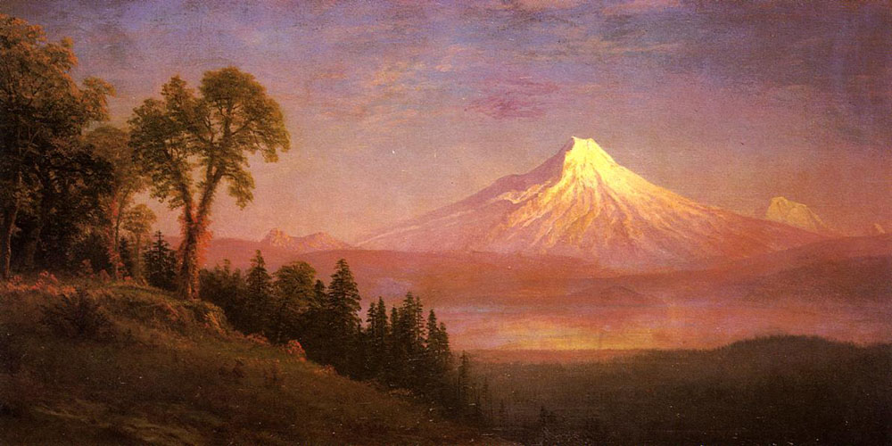 """Mount St. Helens, Columbia River, Oregon"" by  Albert Bierstadt"