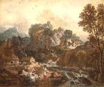 Mountain Landscape with Washerwomen by  Francesco Zuccarelli (Painting ID: CM-1538-KA)