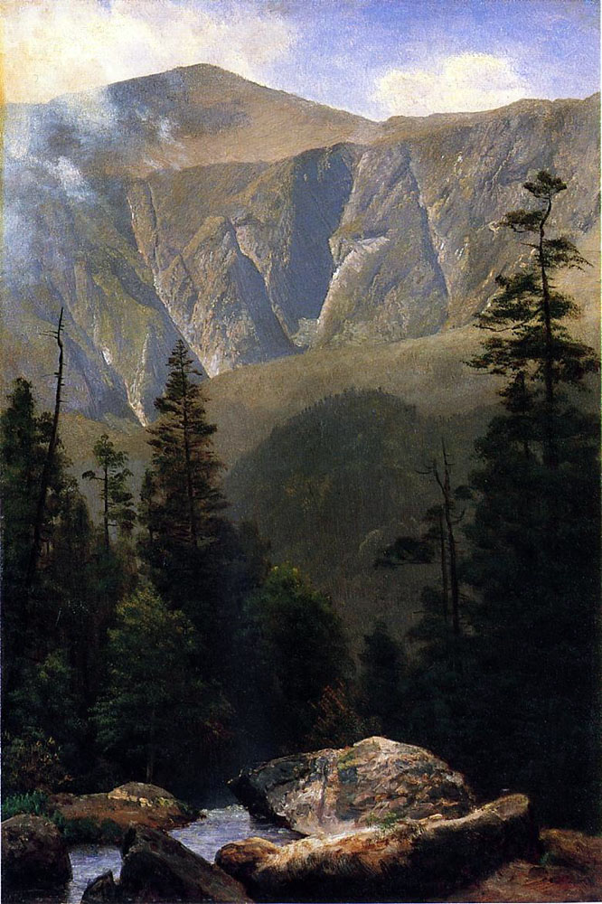 """Mountainous Landscape"" by  Albert Bierstadt"
