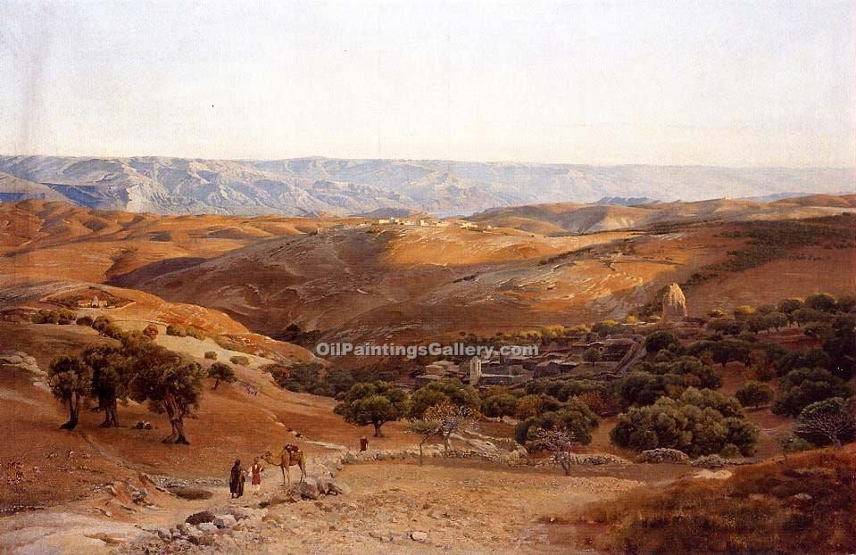 """Mountains of Moab Seen from Bethany"" by  Gustav Bauernfeind"