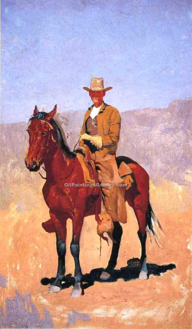 """Mounted Cowboy in Chaps with Race Horse"" by  Frederic Remington"