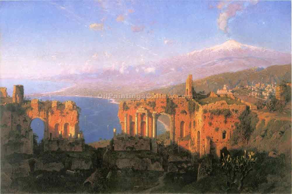 """Mt. Aetna from Taormina 01"" by  William Stanley Haseltine"