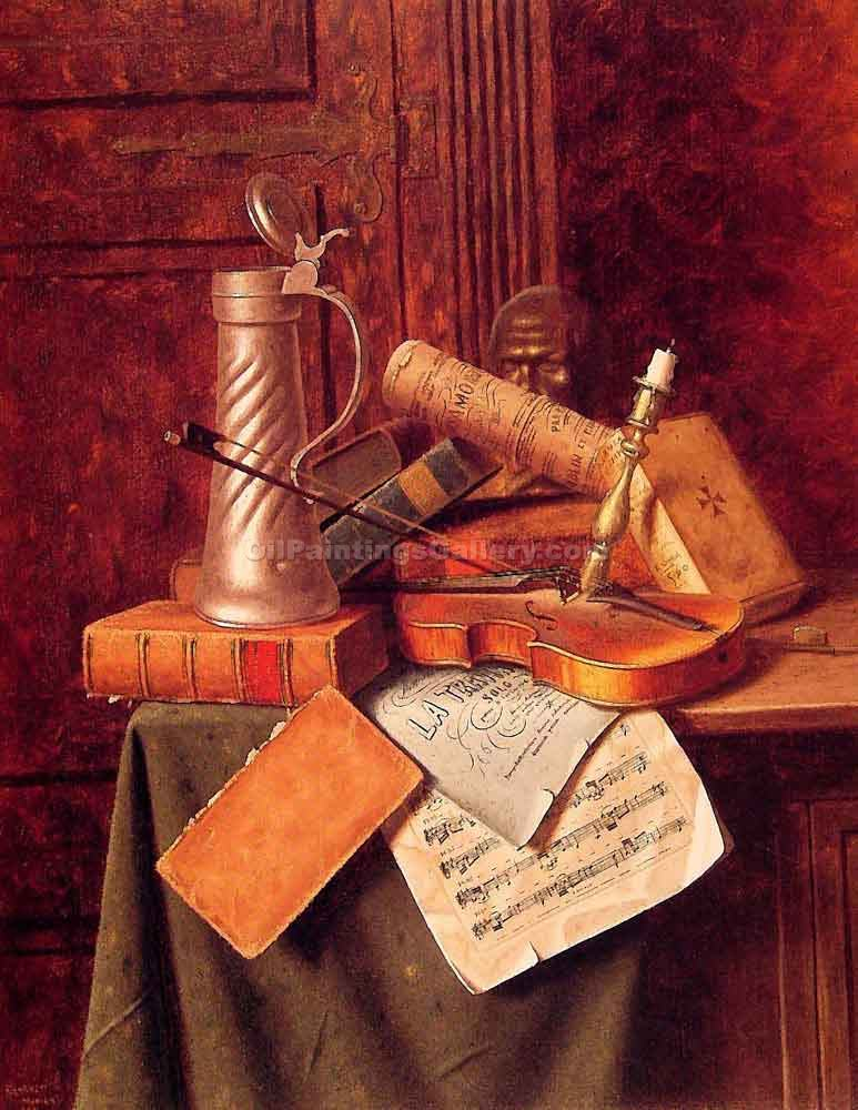 Munich Still Life 43 by William Michael Harnett | Impressionism Paintings - Oil Paintings Gallery