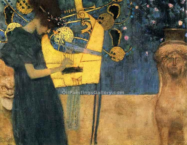 Music 80 by GustavKlimt | Abstract Acrylic Paintings - Oil Paintings Gallery