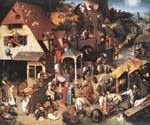 Netherlandish Proverbs by  Pieter the Elder Brueghel (Painting ID: CL-6013-KA)
