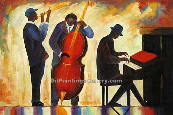 Buy Music Instruments or Piano Oil Painting Online - Figurative Reproduction Paintings - New Orleans Jazz