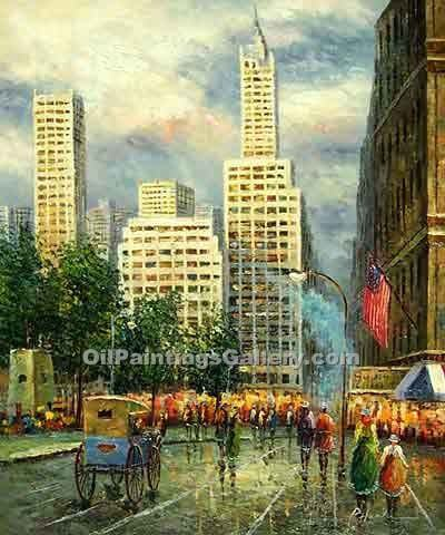 Buy City Oil Paintings Online | Realism & Naturalism styles | New York, Sixth Avenue