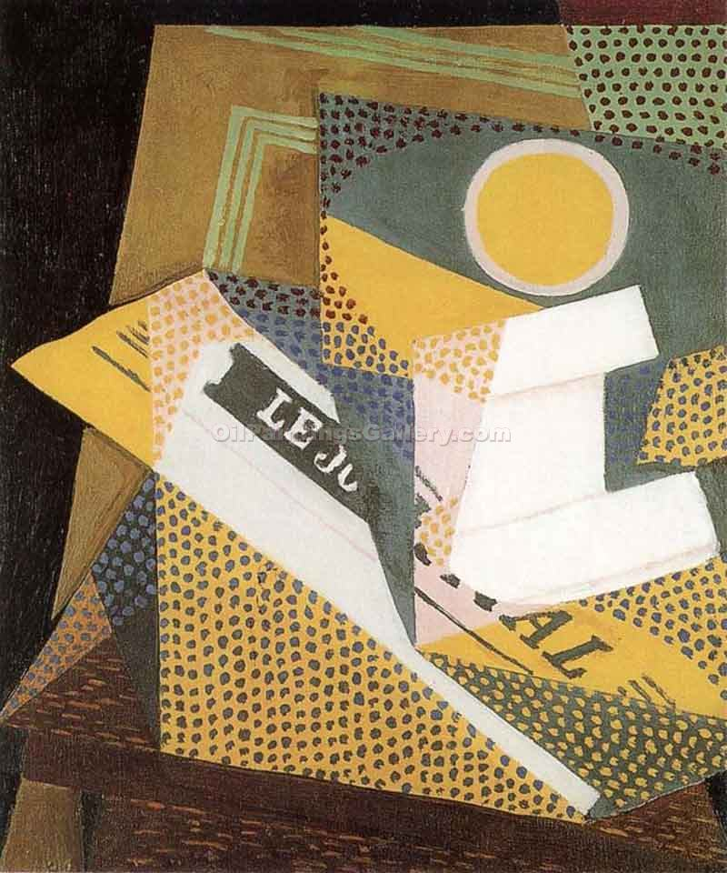 """Newspaper and Fruit Dish"" by  Juan Gris"