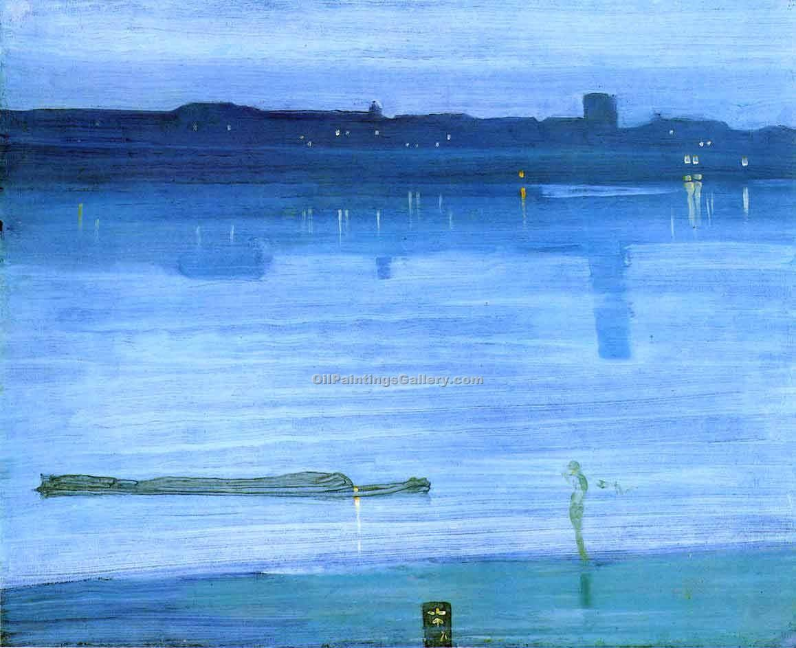 """Nocturne Blue and Silver Chelsea"" by  James McNeill  Whistler"