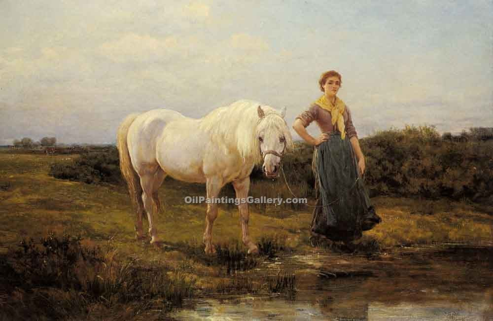 """Noonday taking a Horse to Water"" by  Heywood Hardy"