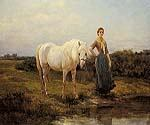 Noonday taking a Horse to Water by  Heywood Hardy (Painting ID: CM-1075-KA)