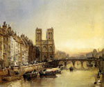 Notre Dame from the River Seine by  James Webb (Painting ID: CI-0234-KA)