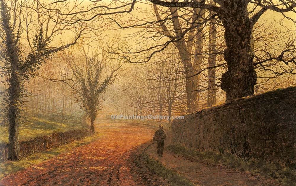 November Afternoon, Stapleton Park by Grimshaw John Atkinson | Hand Painted Oil Paintings - Oil Paintings Gallery