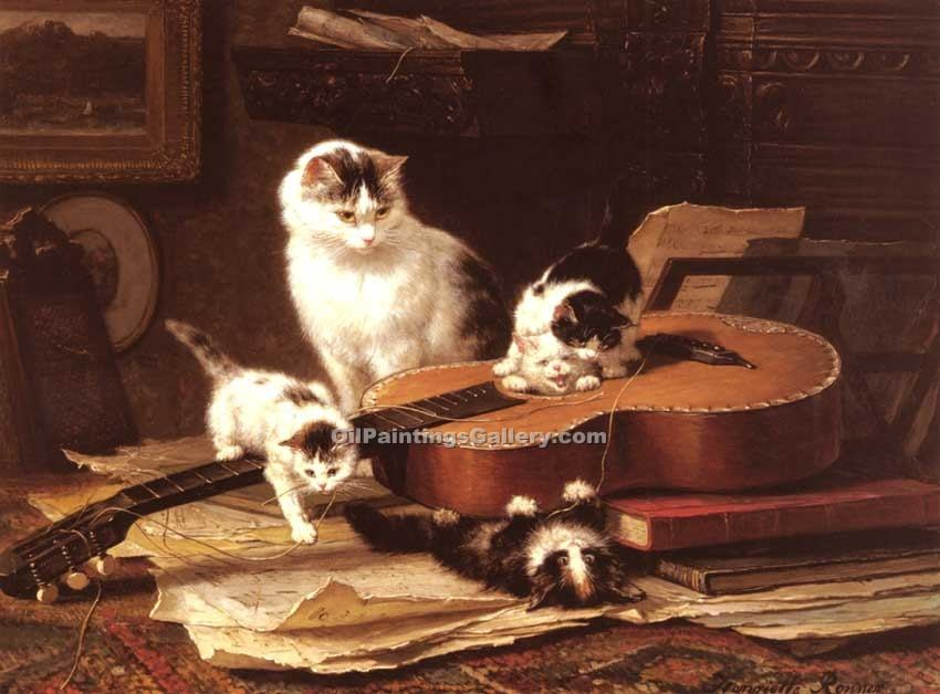Oefeningen Op De Gitaar by Knip Henriette Ronner | Oil Painting Landscapes - Oil Paintings Gallery
