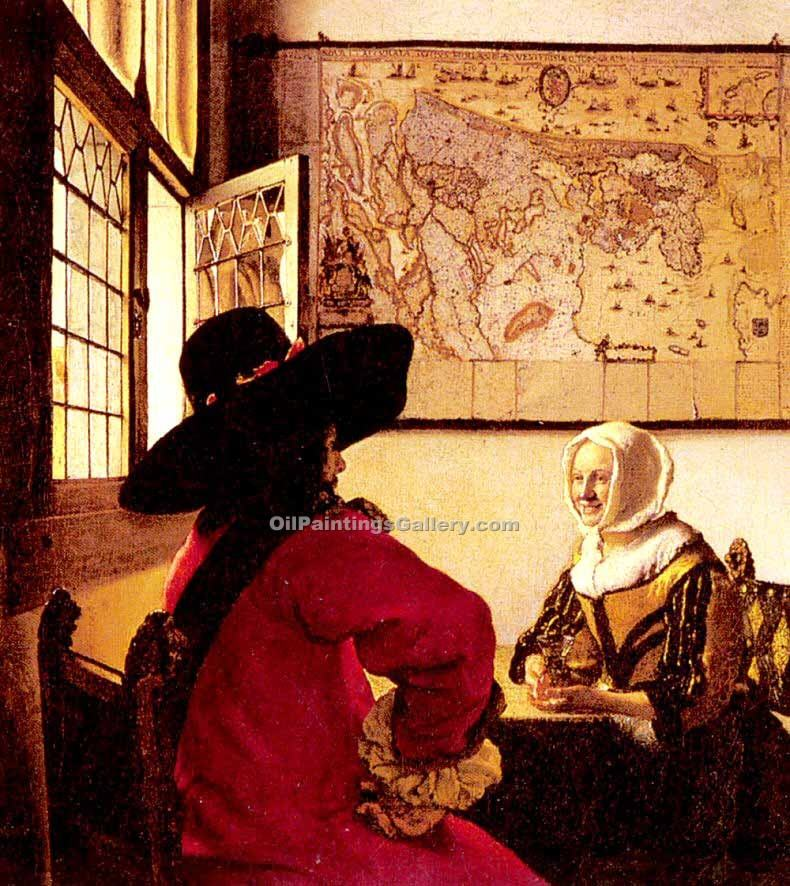 """Officer with a Laughing Girl"" by  Jan Vermeer"