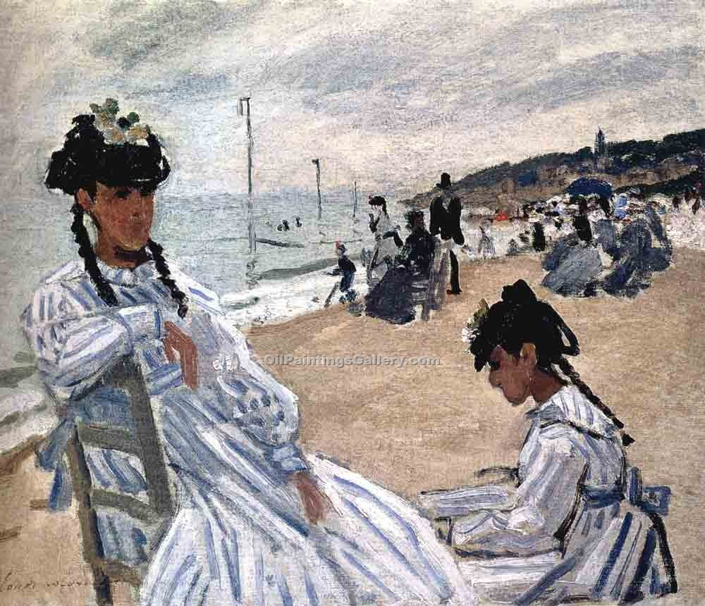 """On The Beach at Trouville"" by  Claude Monet"
