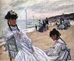 On The Beach at Trouville by  Claude Monet (Painting ID: MO-1076-KA)