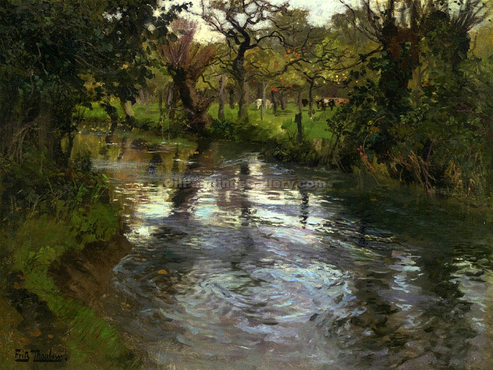 """On the Banks"" by  Fritz Thaulow"